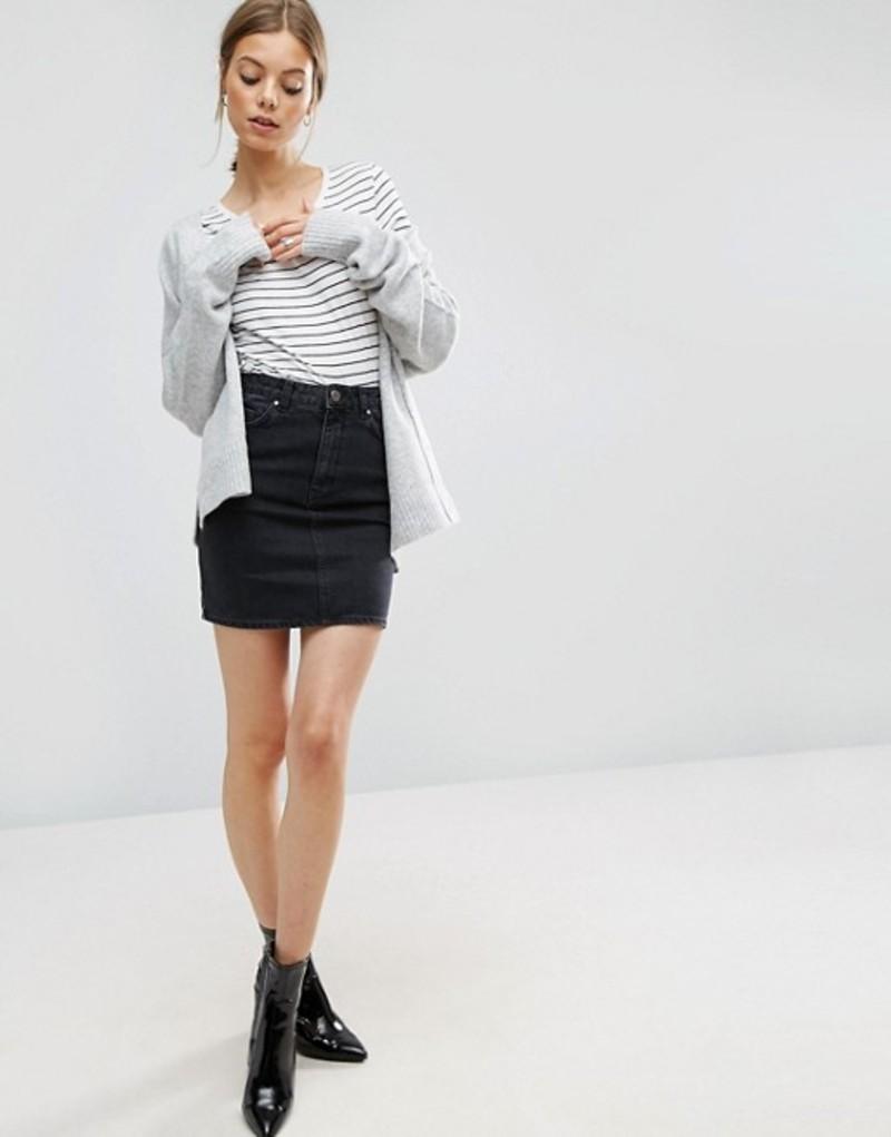 エイソス レディース スカート ボトムス ASOS DESIGN denim original high waisted skirt in washed black Black