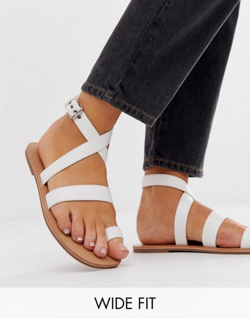 ロンドンレベル レディース サンダル シューズ London Rebel wide fit toe loop flat sandals White