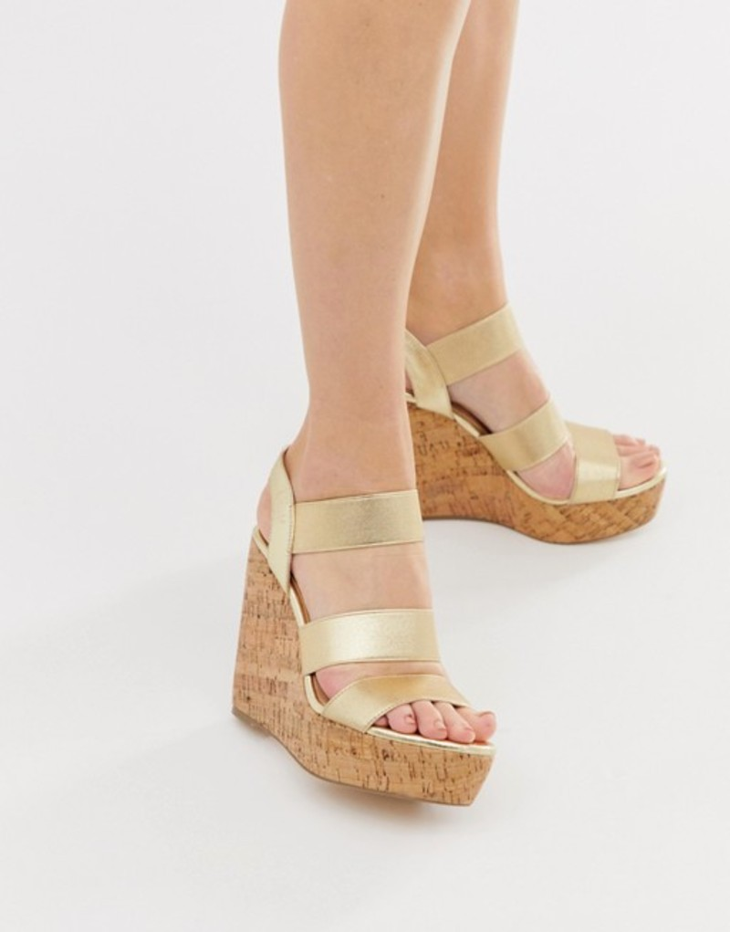 ロンドンレベル レディース サンダル シューズ London Rebel high heeled cork wedges Gold