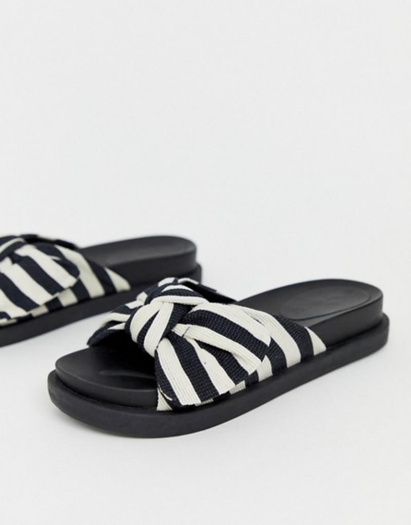 トリュフコレクション レディース サンダル シューズ Truffle Collection bow slides Black/white stripe