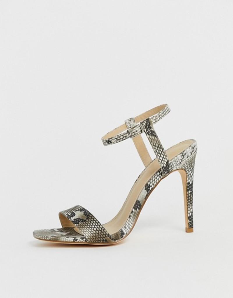 トリュフコレクション レディース ヒール シューズ Truffle Collection stiletto barely there square toe heeled sandals in snake Snake