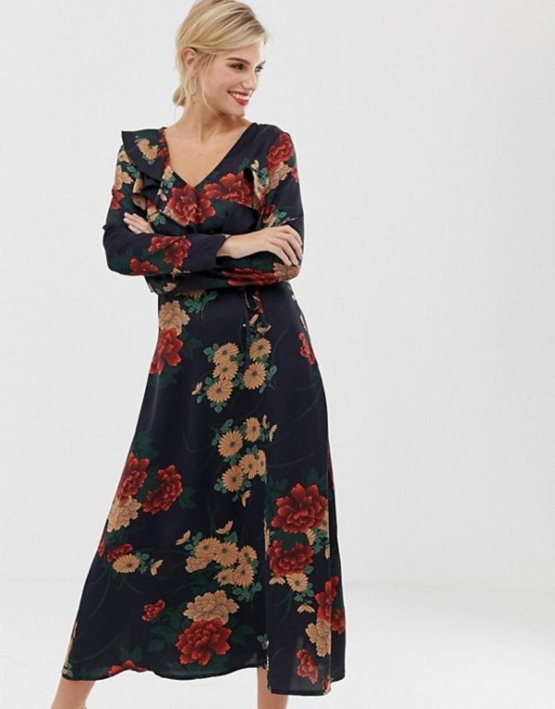 リクオリッシュ レディース ワンピース トップス Liquorish floral midi dress with ruffle front and sleeve detail Navy