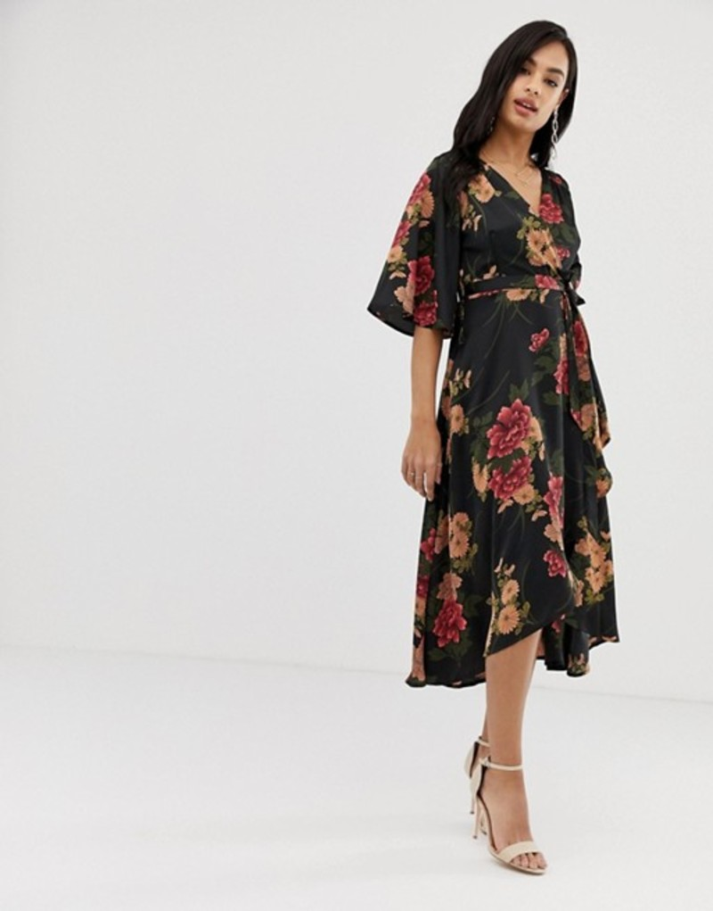 リクオリッシュ レディース ワンピース トップス Liquorish floral wrap front midi dress with tie belt and waterfall hem Black