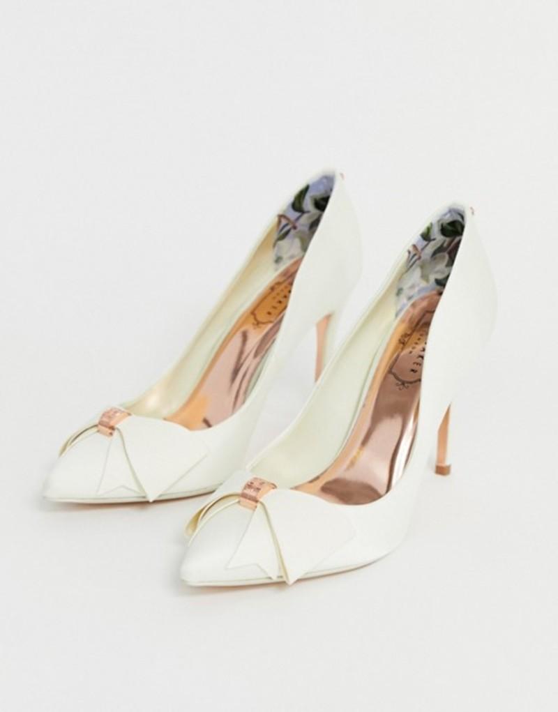 テッドベーカー レディース ヒール シューズ Ted Baker ivory satin bow detail heeled pumps Ivory