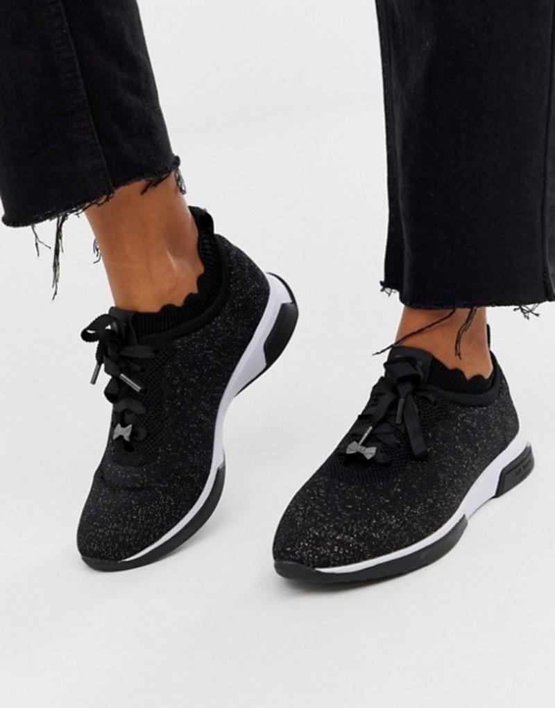 テッドベーカー レディース スニーカー シューズ Ted Baker black sparkle knit sneakers Black glitter