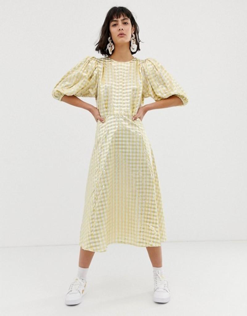 エイソス レディース ワンピース トップス ASOS WHITE metallic gingham midi dress Yellow