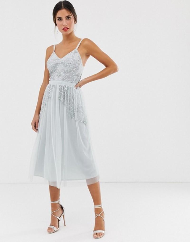 マヤ レディース ワンピース トップス Maya plunge front embellished cami strap midi dress in ice blue Ice blue