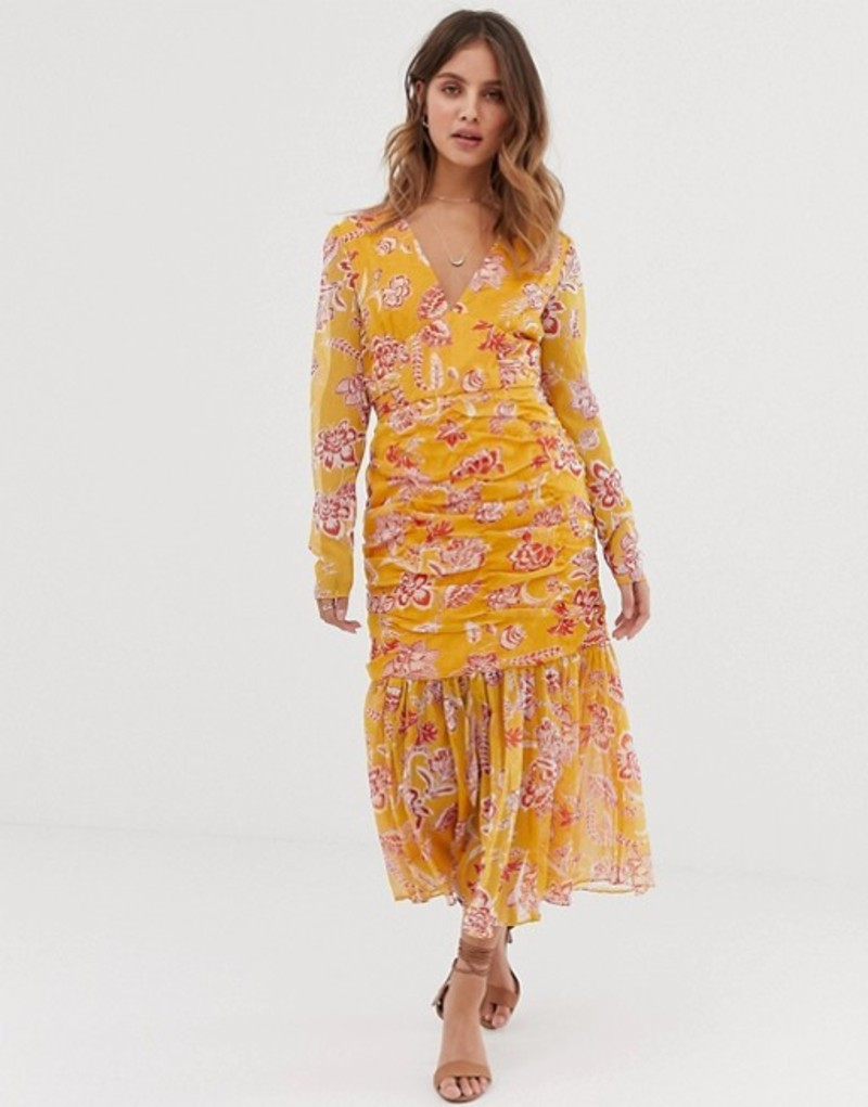 スティービーメイ レディース ワンピース トップス Stevie May Flourishing midi dress with ruched detail and pleated hem Colum gold