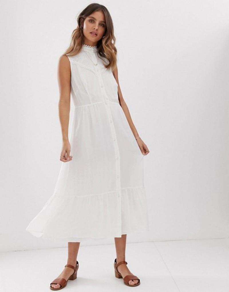 スティービーメイ レディース ワンピース トップス Stevie May Aralia sleeveless midi dress with lace insert White