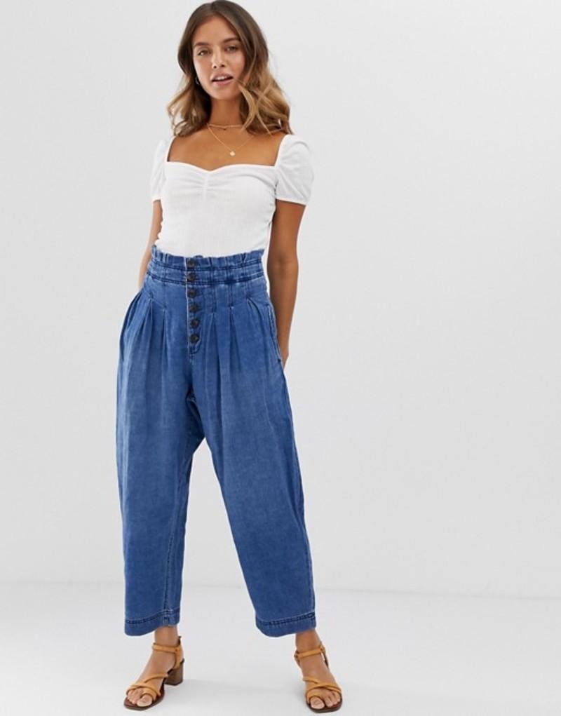 フリーピープル レディース カジュアルパンツ ボトムス Free People Mover And Shaker cotton pants Indigo blue