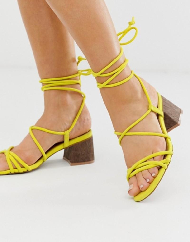エイソス レディース サンダル シューズ ASOS DESIGN Wide Fit Topaz strappy tie leg sandals in neon yellow Neon yellow