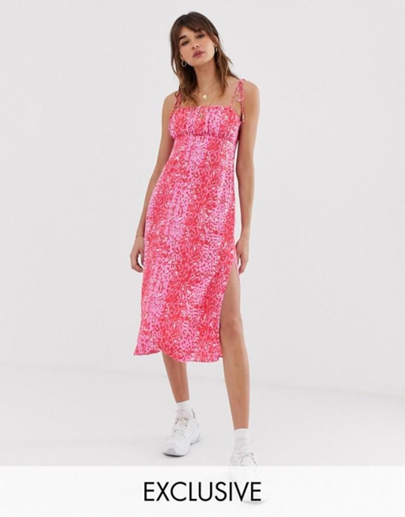 リクレイム ヴィンテージ レディース ワンピース トップス Reclaimed Vintage inspired cami midi dress in animal print Pink