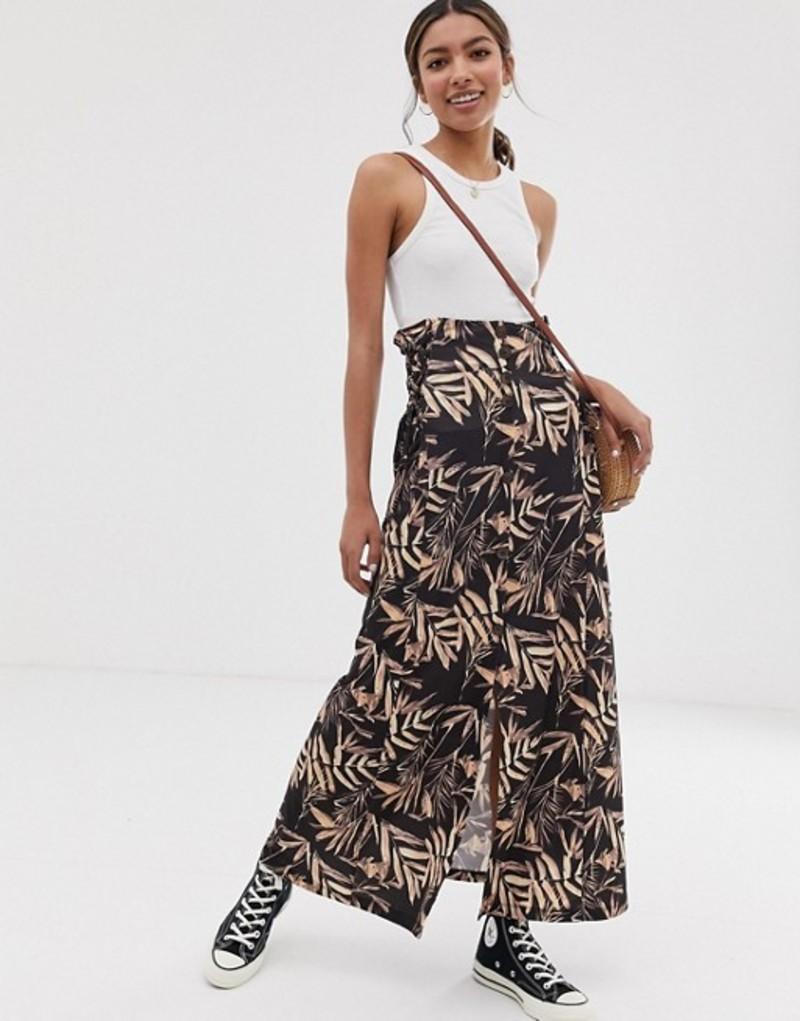 エイソス レディース スカート ボトムス ASOS DESIGN palm print maxi skirt with tie side waist Palm print
