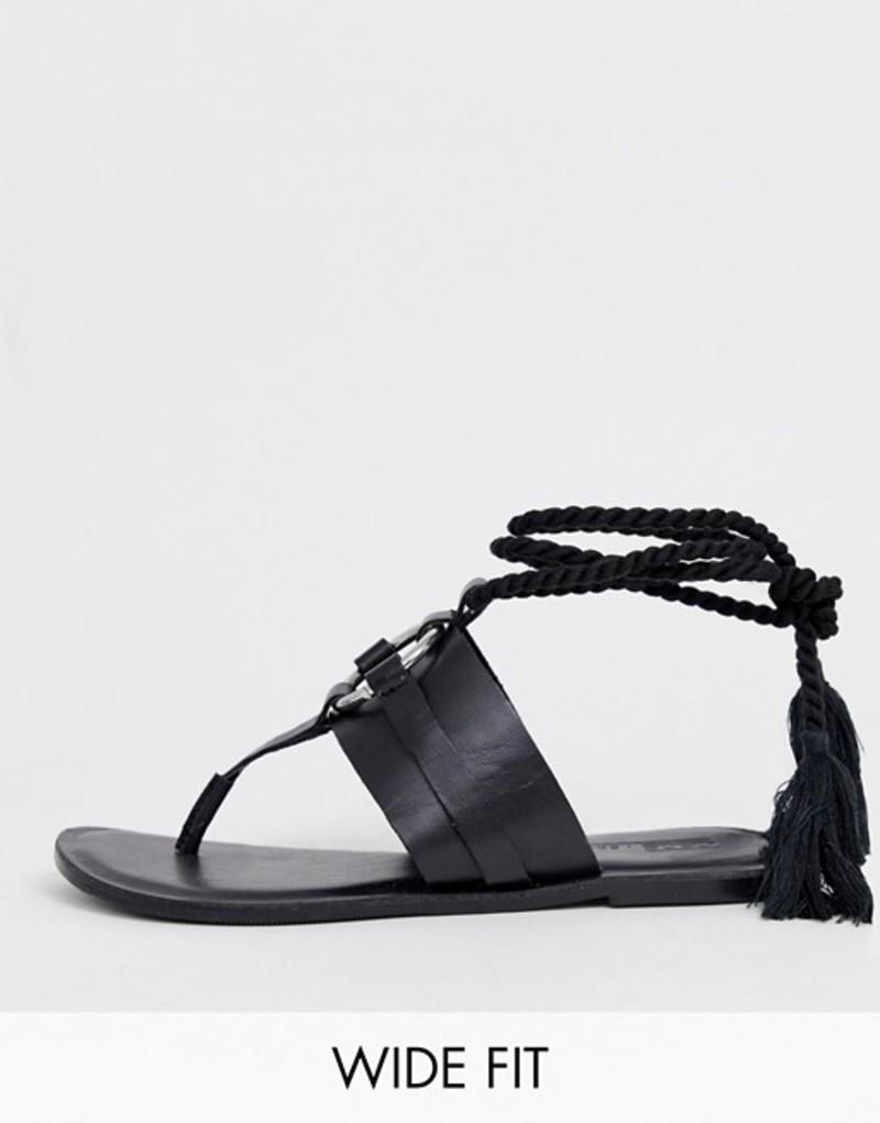 エイソス レディース サンダル シューズ ASOS DESIGN Wide Fit Vantage leather ring detail tie leg flat sandals in black Black
