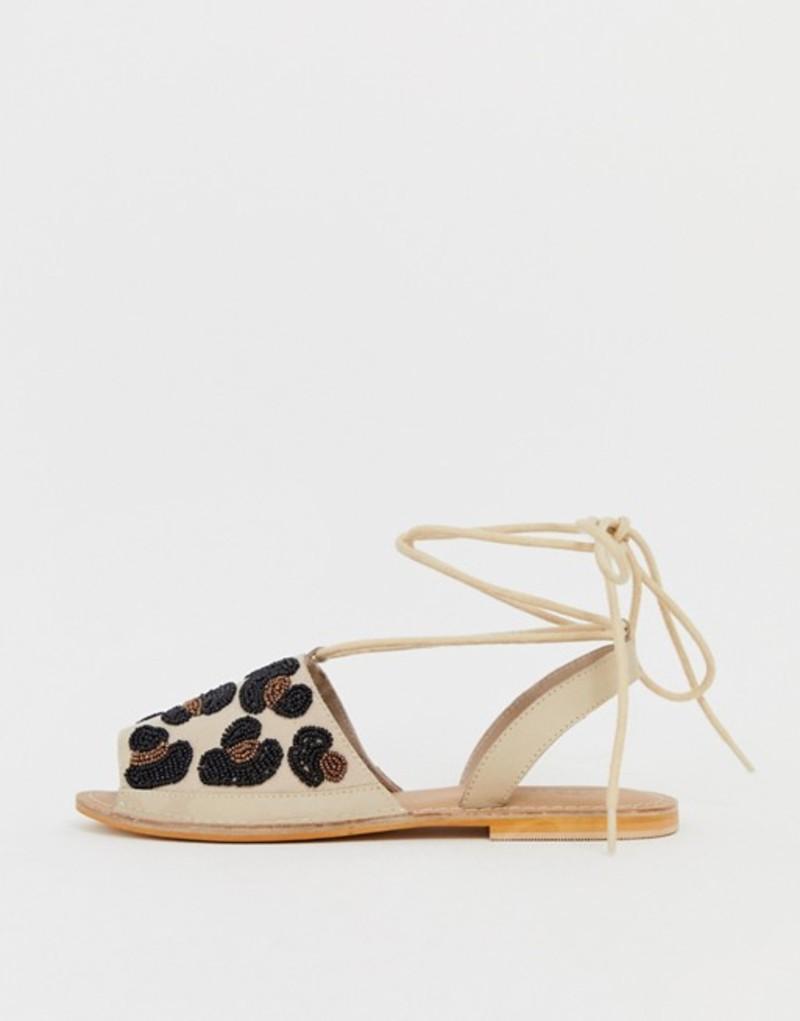 エイソス レディース サンダル シューズ ASOS DESIGN Fondi beaded leopard flat sandals Natural