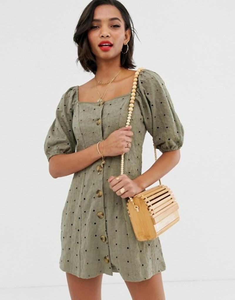 エイソス レディース ワンピース トップス ASOS DESIGN button through broderie tea dress Green