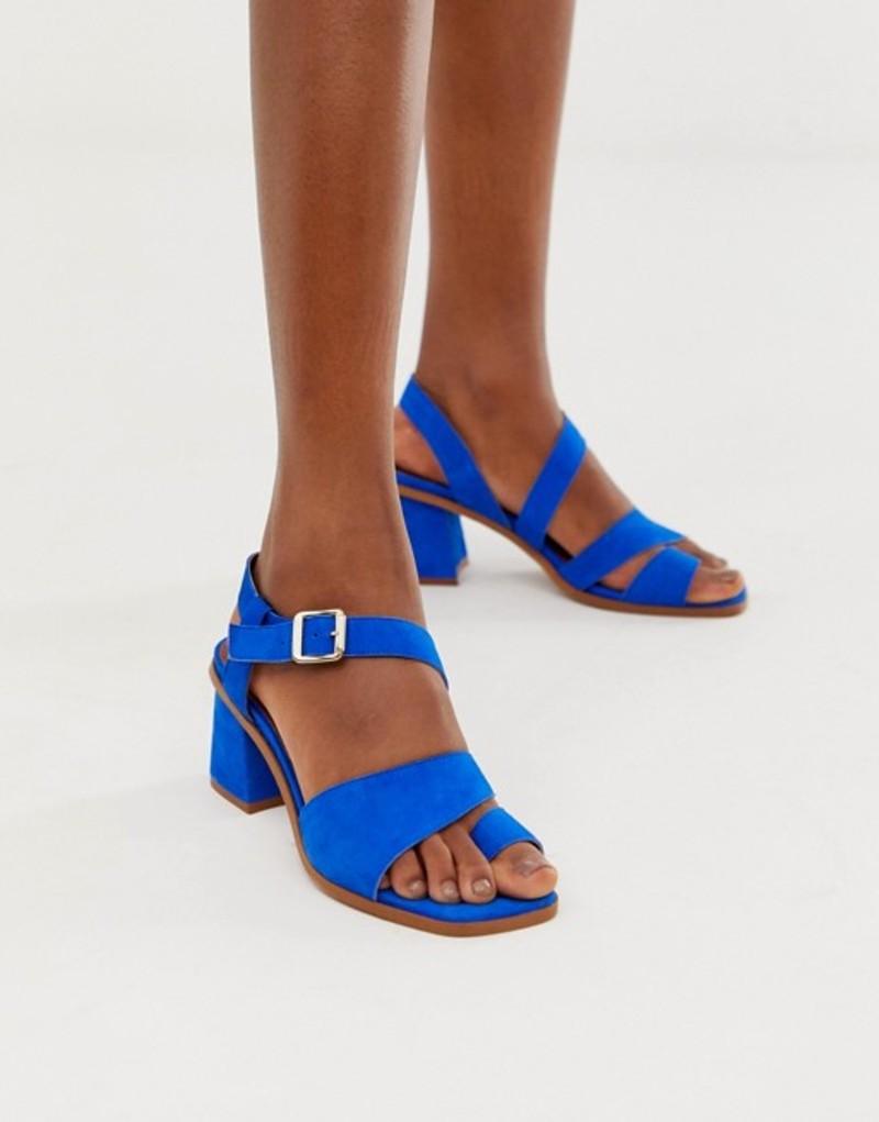 エイソス レディース サンダル シューズ ASOS DESIGN Hickery premium suede toe loop block heeled sandals in blue Blue suede