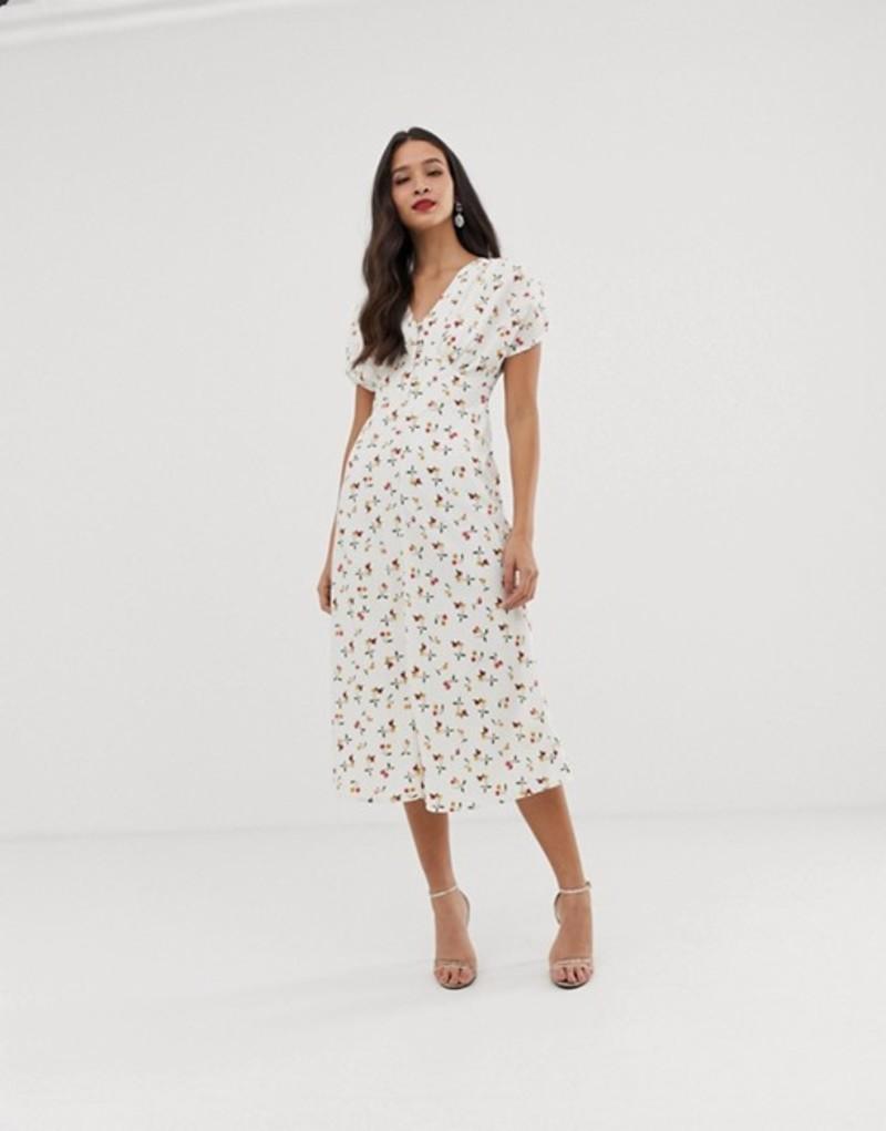 エイソス レディース ワンピース トップス ASOS DESIGN midi tea dress in cherry print Cherry print
