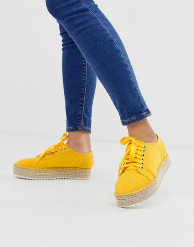 エイソス レディース サンダル シューズ ASOS DESIGN Jakie lace up espadrille sneakers Yellow