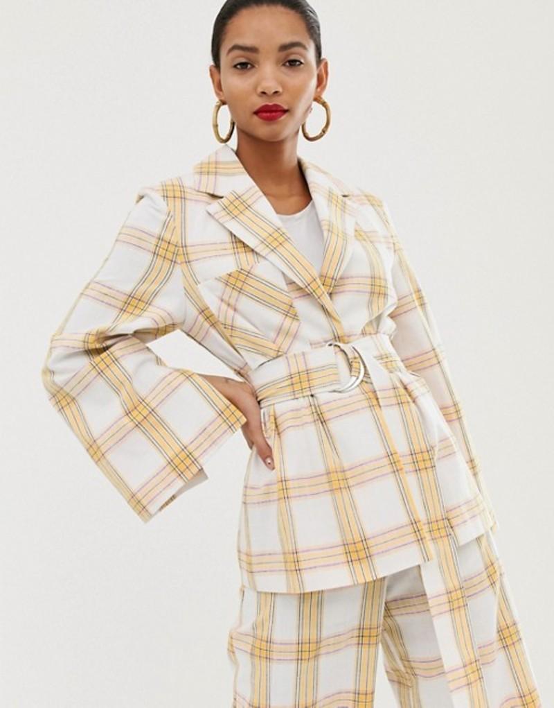 エイソス レディース ジャケット・ブルゾン アウター ASOS WHITE belted suit jacket in check print Multi