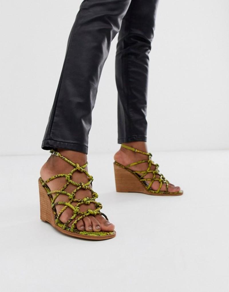 エイソス レディース サンダル シューズ ASOS DESIGN Zoe wedge sandals in green snake Green snake