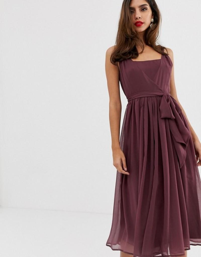 エイソス レディース ワンピース トップス ASOS DESIGN soft chiffon square neck midi prom dress with twist strap Purple