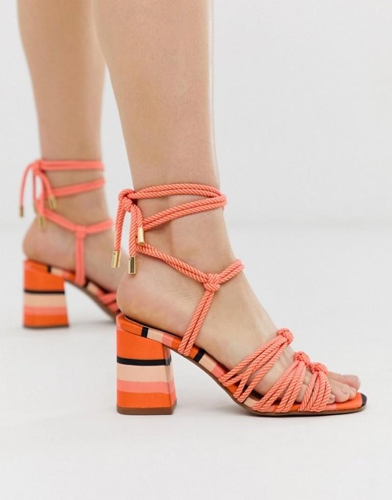 エイソス レディース サンダル シューズ ASOS DESIGN Hazel rope tie heeled sandals in pink stripe Pink stripe