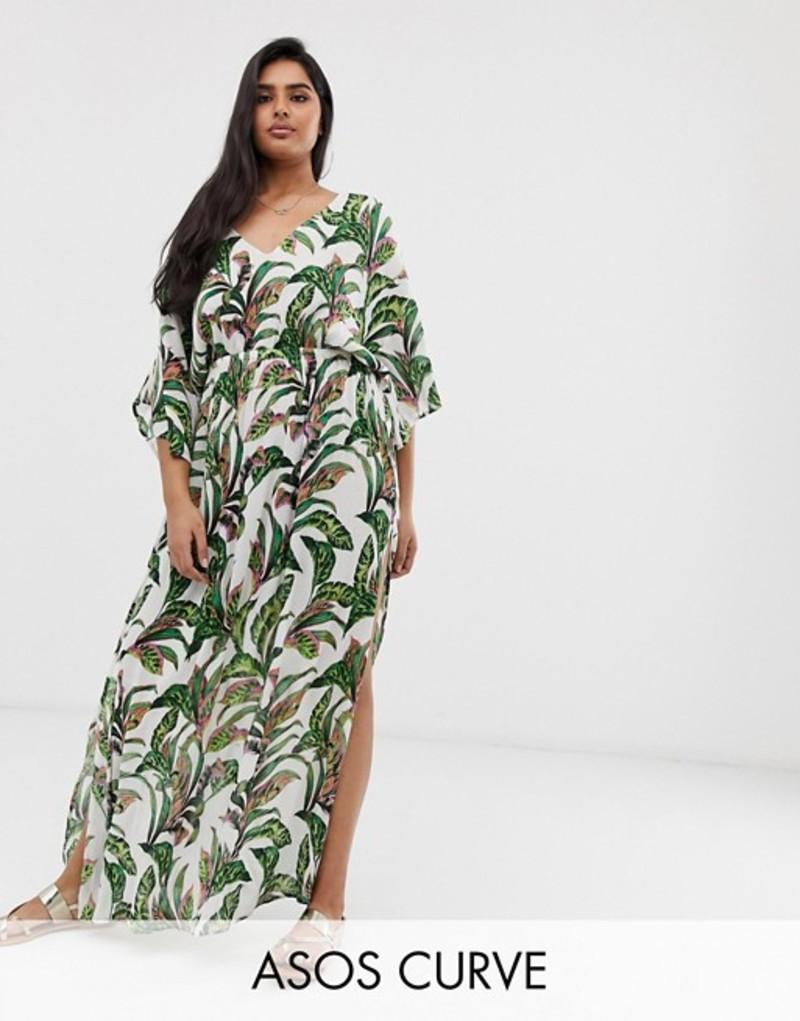 エイソス レディース ワンピース トップス ASOS DESIGN Curve beach maxi dress with kimono sleeve in palm print Palm print