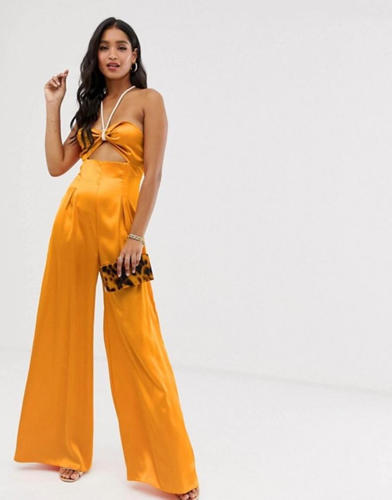 エイソス レディース ワンピース トップス ASOS DESIGN jumpsuit with cut out and rope detail Marigold