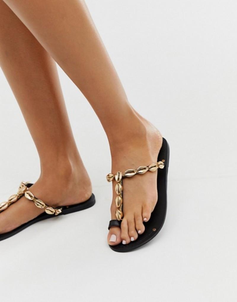 エイソス レディース サンダル シューズ ASOS DESIGN Fawn premium shell toe loop sandals Black/gold