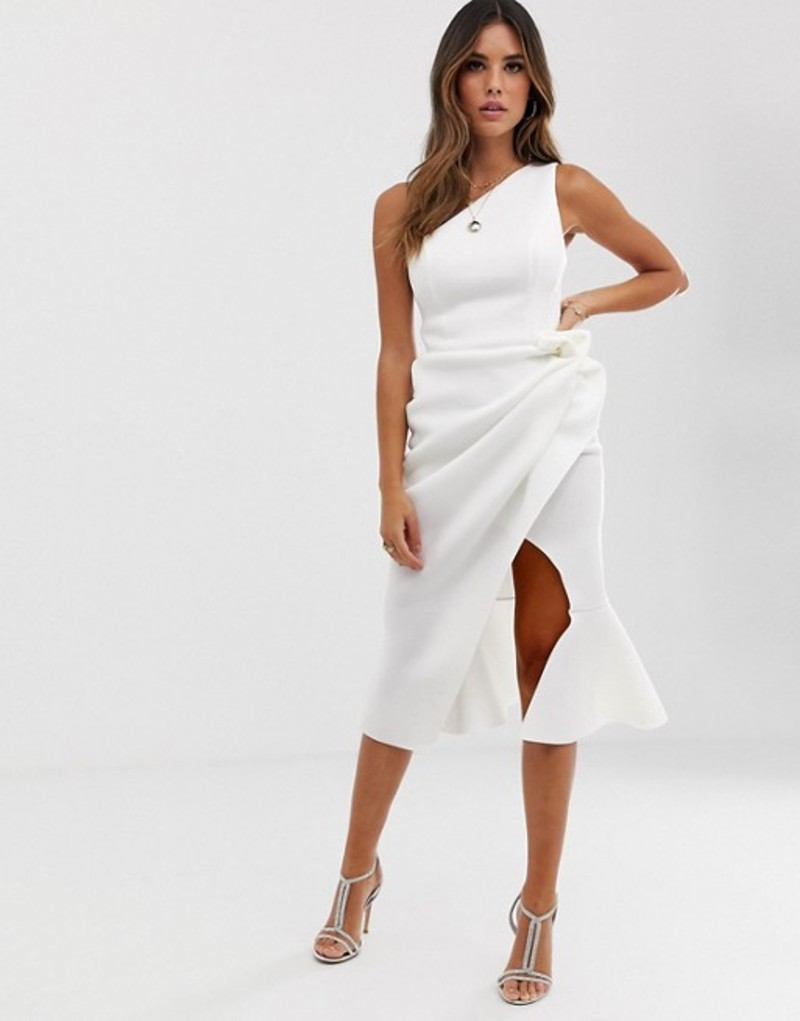 エイソス レディース ワンピース トップス ASOS DESIGN one shoulder tuck detail midi dress Ivory