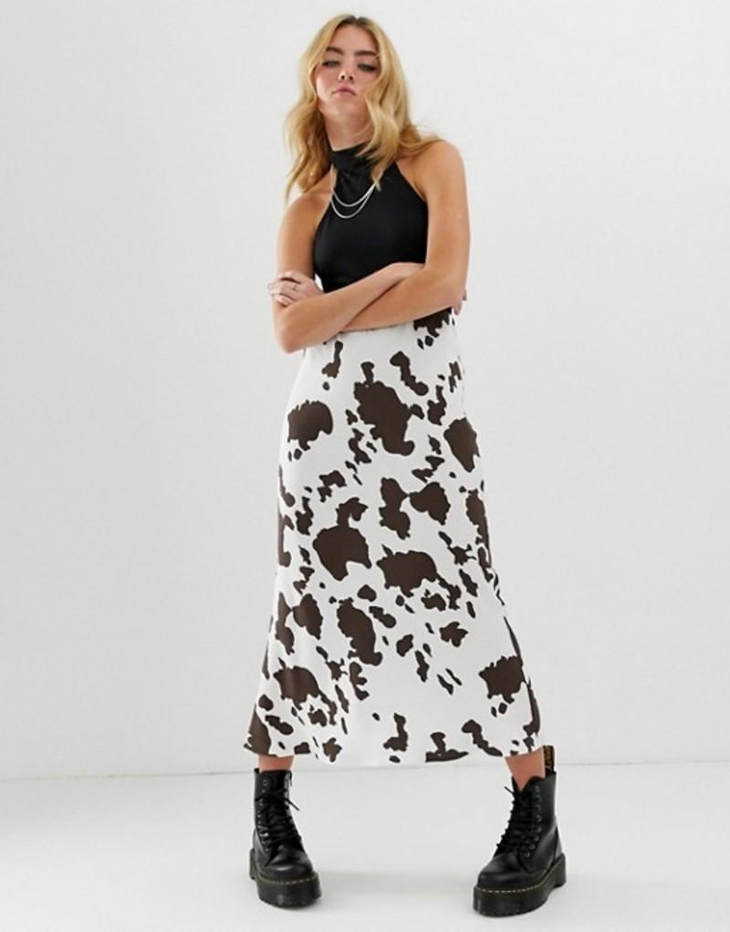 エイソス レディース スカート ボトムス ASOS DESIGN bias cut midi slip skirt in cow print Cow print