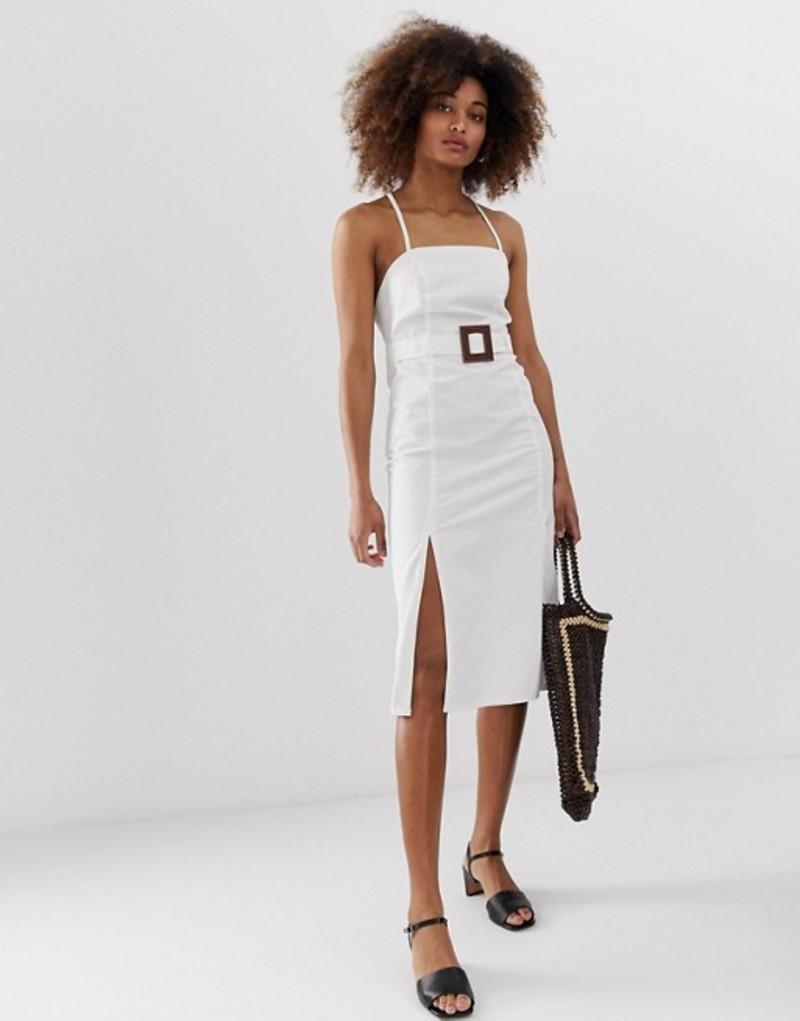 ネオンローズ レディース ワンピース トップス Neon Rose denim midaxi dress with tie back and belt White debim