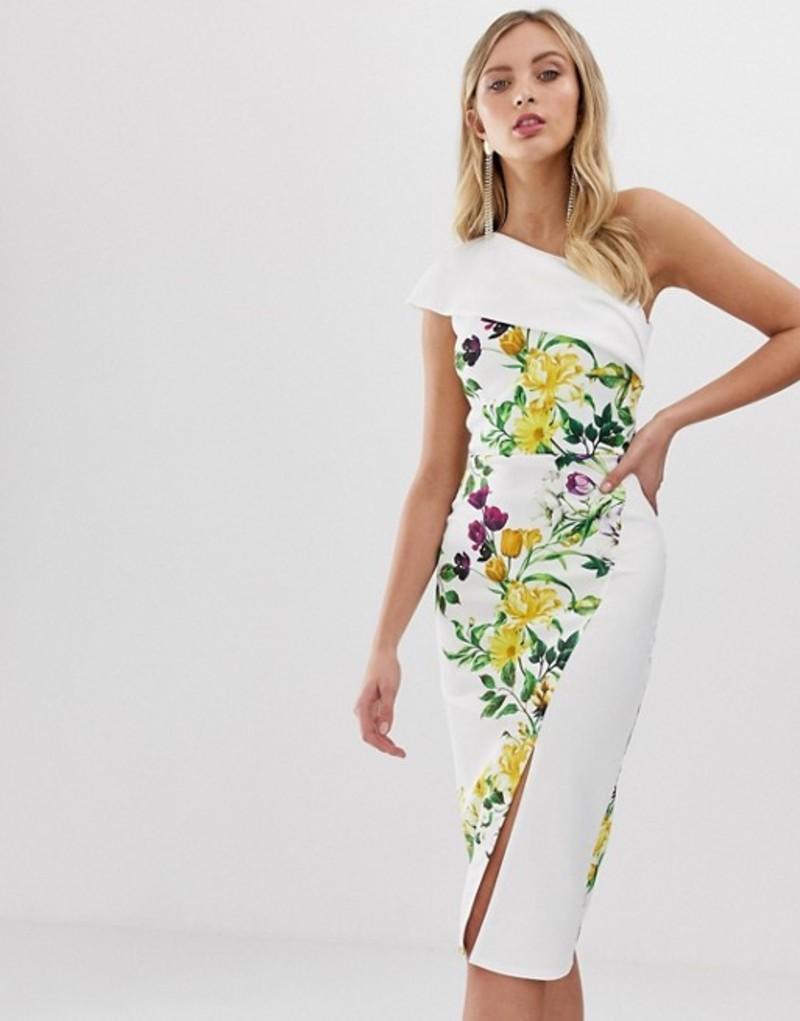 トゥルーバイオレット レディース ワンピース トップス True Violet exclusive one shoulder wrap bodycon dress Yellow / white flo