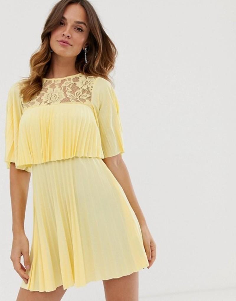 エイソス レディース ワンピース トップス ASOS DESIGN pleated crop top mini dress with lace insert Lemon