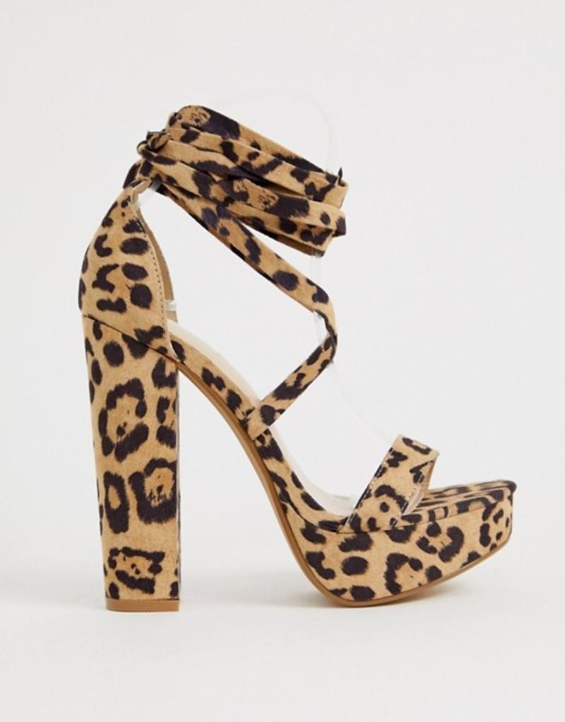 パブリックデザイア レディース ヒール シューズ Public Desire Leonie leopard ankle tie platform sandals Leo su