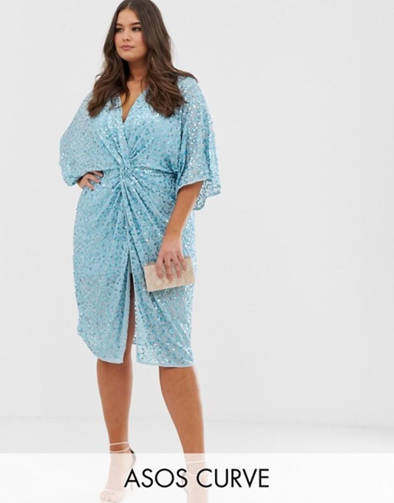 エイソス レディース ワンピース トップス ASOS DESIGN Curve scatter sequin knot front kimono midi dress Light blue