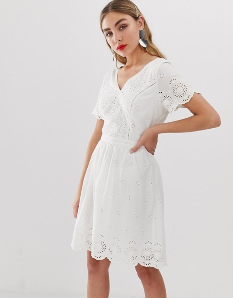 オンリー レディース ワンピース トップス Only broderie anglais mini dress Cream