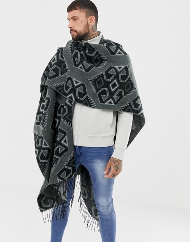 エイソス メンズ コート アウター ASOS DESIGN cape in monochrome geo-tribal print Black