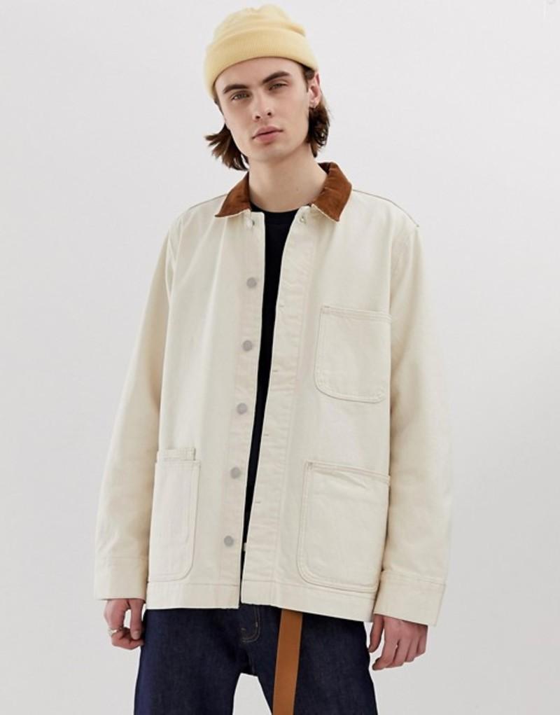 ウィークデイ メンズ ジャケット・ブルゾン アウター Weekday Sunset jacket with cord collar in ecru Ecru