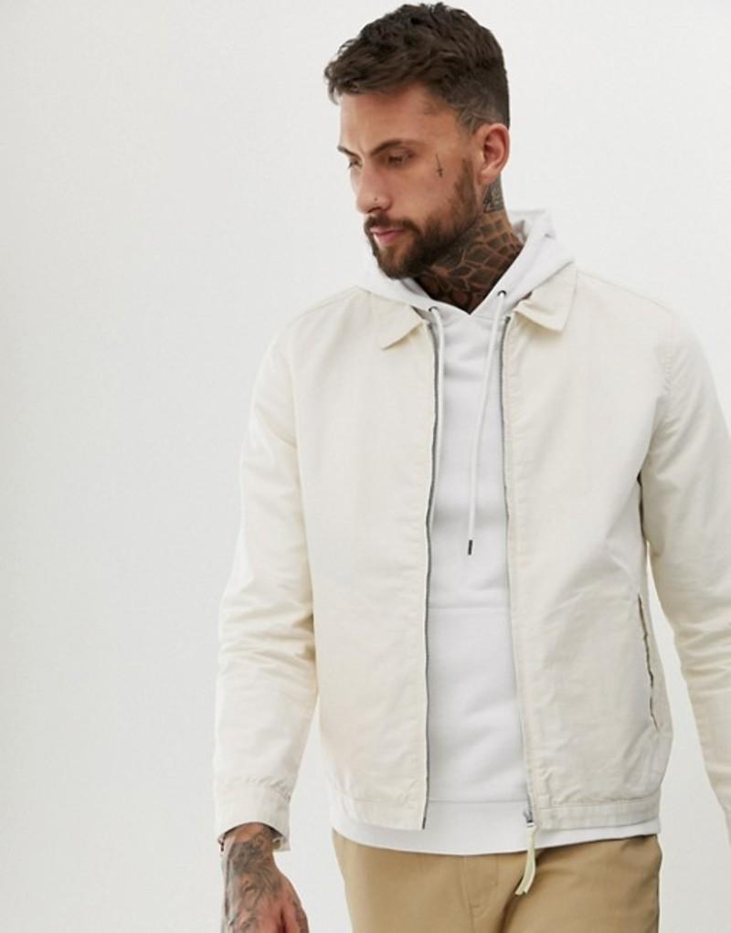 エイソス メンズ ジャケット・ブルゾン アウター ASOS DESIGN harrington jacket in ecru Ecru