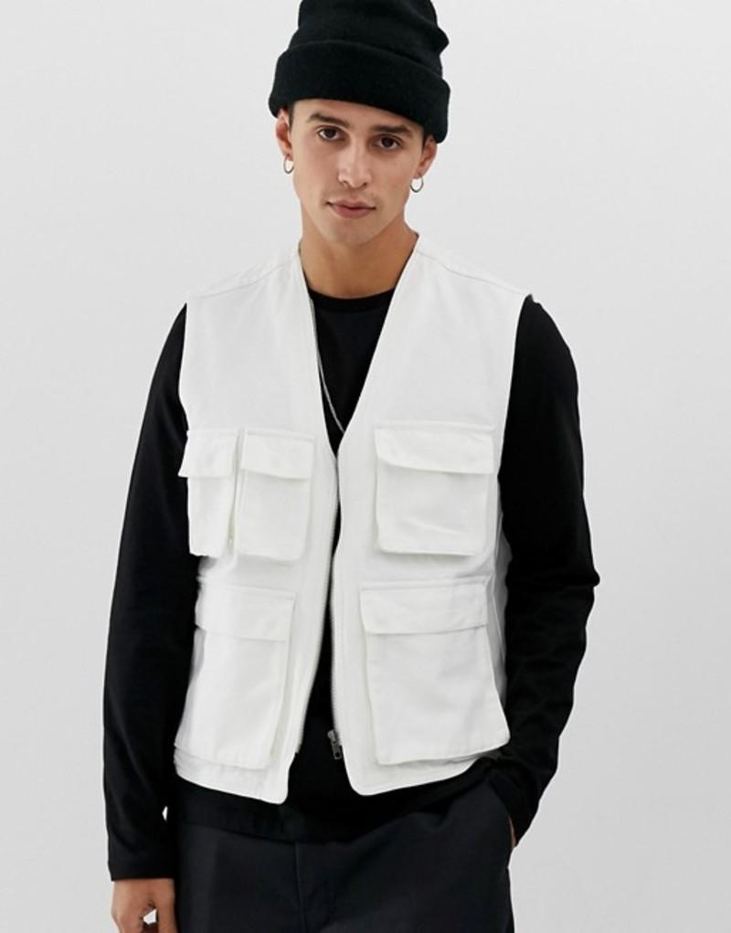 エイソス メンズ タンクトップ トップス ASOS DESIGN utility vest in ecru Ecru