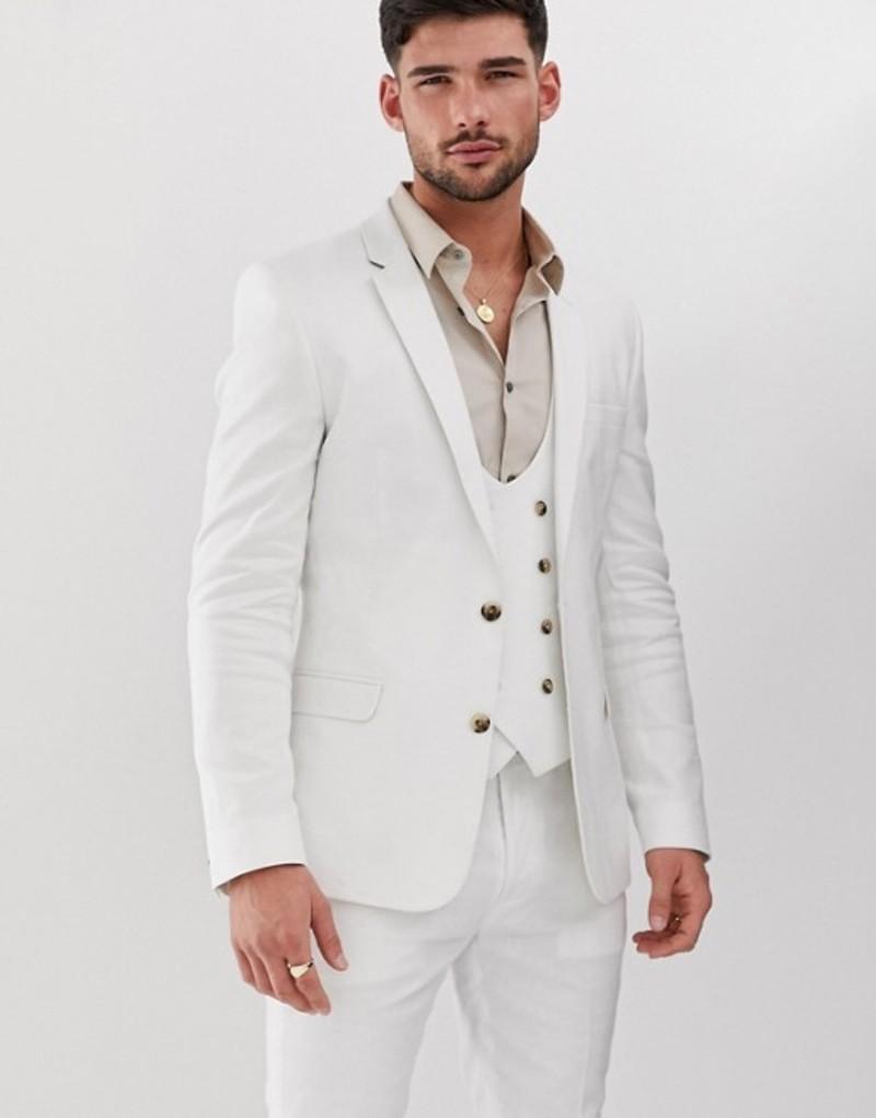 エイソス メンズ ジャケット・ブルゾン アウター ASOS DESIGN super skinny suit jacket in white linen White