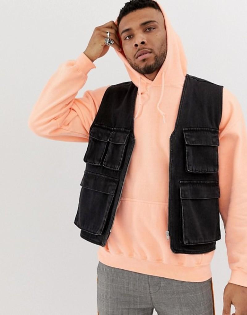エイソス メンズ タンクトップ トップス ASOS DESIGN denim utility vest in washed black Washed black