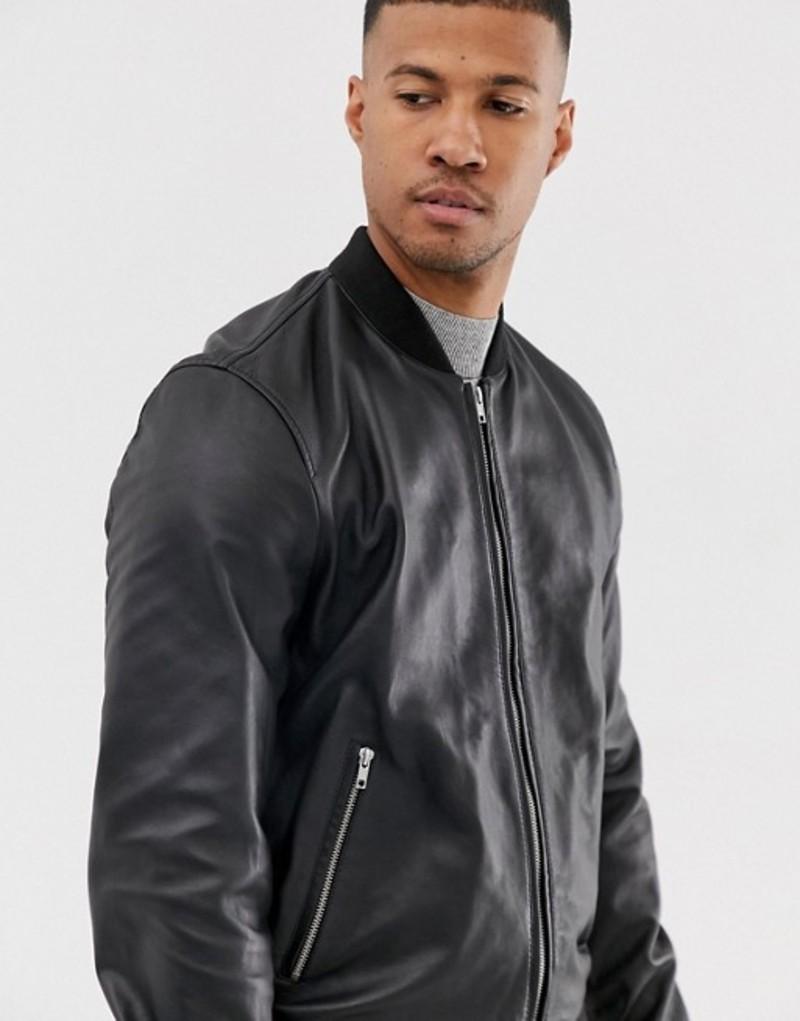 エイソス メンズ ジャケット・ブルゾン アウター ASOS DESIGN leather bomber jacket in black Black