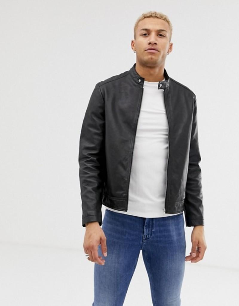 エイソス メンズ ジャケット・ブルゾン アウター ASOS DESIGN leather racing biker jacket in black Black