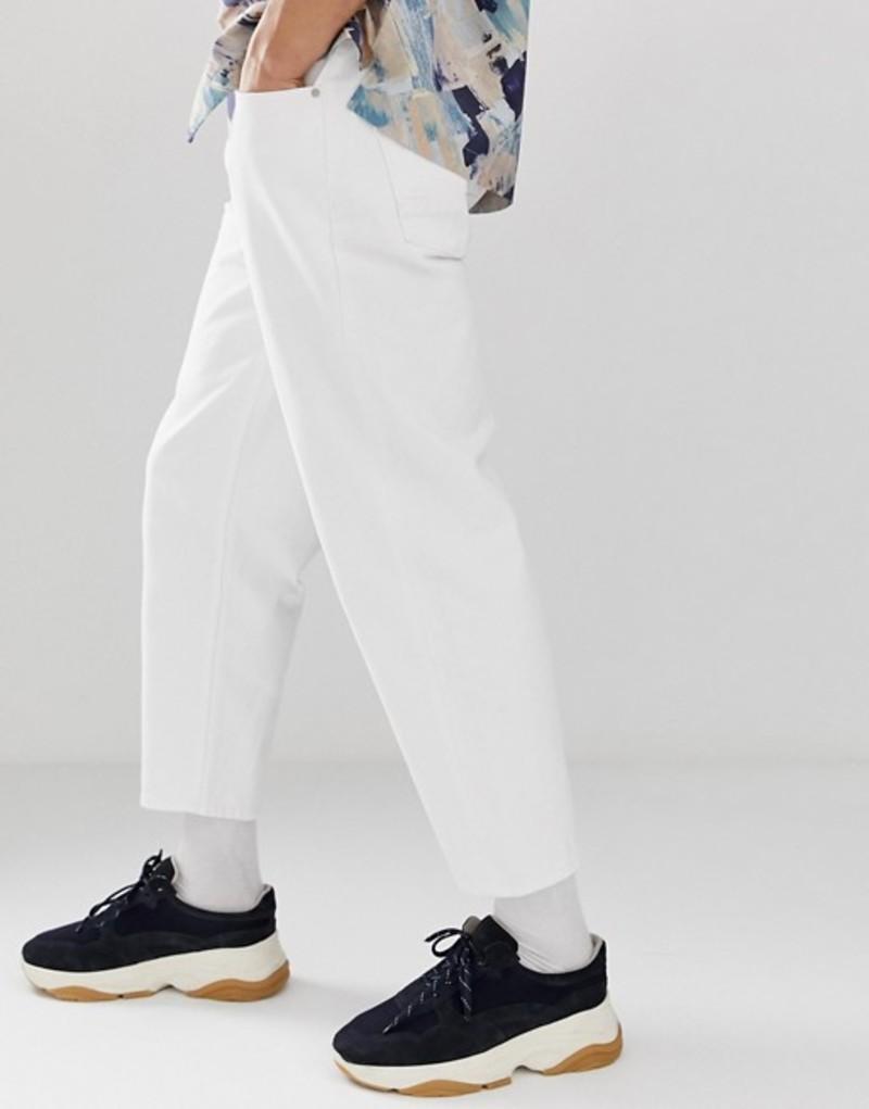 エイソス メンズ デニムパンツ ボトムス ASOS WHITE tapered jeans in 14oz white denim White