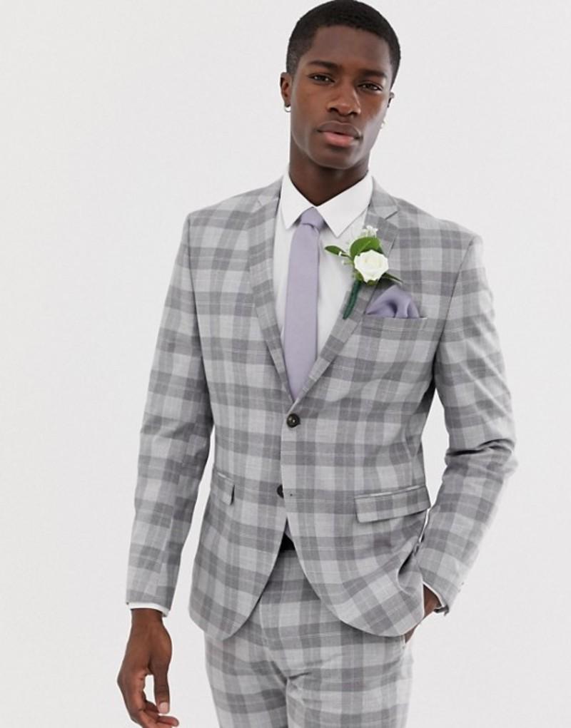 ジャック アンド ジョーンズ メンズ ジャケット・ブルゾン アウター Jack & Jones Premium slim fit suit jacket in gray check Light grey melange