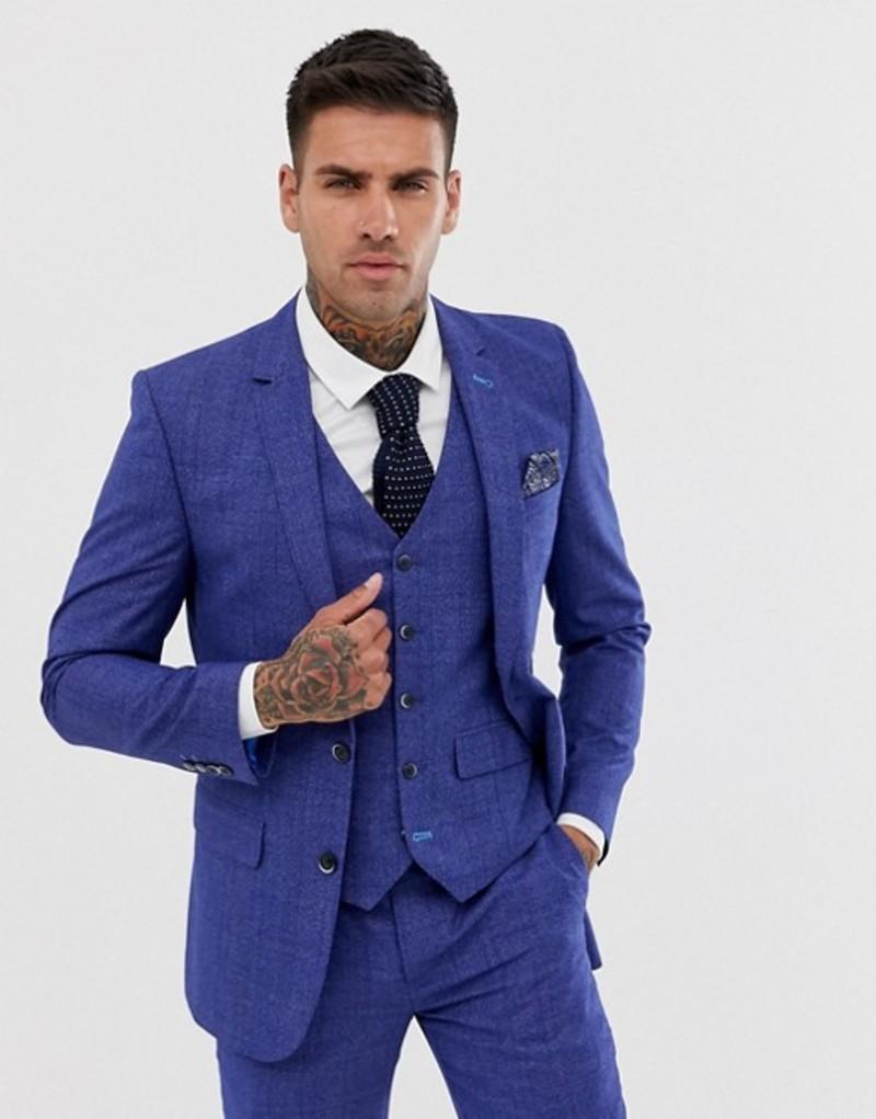 ハリー ブラウン メンズ ジャケット・ブルゾン アウター Harry Brown slim fit mid blue burgundy check suit jacket Blue