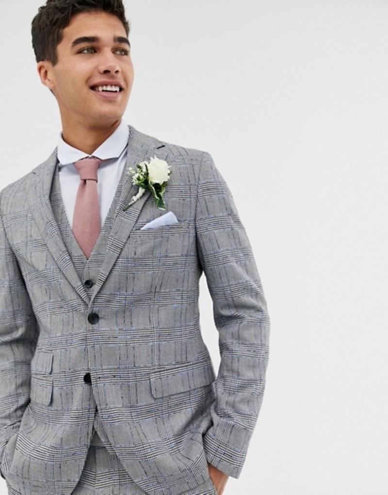 モス ブラザーズ メンズ ジャケット・ブルゾン アウター Moss London skinny suit jacket with check boucle Blue